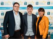 29 September 2018; Matthew Cooley of Corofin, Galway, with father Brian and mother Helen on their arrival at the 2018 Electric Ireland Minor Star Awards. The Hurling/Football Team of the Year was selected by an expert panel of GAA legends including Ollie Canning, Sean Cavanagh, Michael Fennelly and Daniel Goulding. Sponsors of the GAA Minor Championships, Electric Ireland today recognised the talent and dedication of 15 Minor football players, and 15 Minor hurling players at the second annual Electric Ireland Minor Star Awards at Croke Park. #GAAThisIsMajor Photo by Stephen McCarthy/Sportsfile