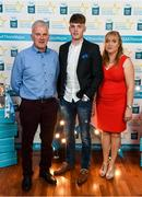 29 September 2018; Conor Whelan of CJ Kickhams, Tipperary, with his father Maurice and mother Ber on their arrival at the 2018 Electric Ireland Minor Star Awards. The Hurling/Football Team of the Year was selected by an expert panel of GAA legends including Ollie Canning, Sean Cavanagh, Michael Fennelly and Daniel Goulding. Sponsors of the GAA Minor Championships, Electric Ireland today recognised the talent and dedication of 15 Minor football players, and 15 Minor hurling players at the second annual Electric Ireland Minor Star Awards at Croke Park. #GAAThisIsMajor Photo by Stephen McCarthy/Sportsfile