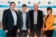 29 September 2018; Matthew Cooley of Corofin, Galway, with father Brian, mother Helen and Frank Morris on their arrival at the 2018 Electric Ireland Minor Star Awards. The Hurling/Football Team of the Year was selected by an expert panel of GAA legends including Ollie Canning, Sean Cavanagh, Michael Fennelly and Daniel Goulding. Sponsors of the GAA Minor Championships, Electric Ireland today recognised the talent and dedication of 15 Minor football players, and 15 Minor hurling players at the second annual Electric Ireland Minor Star Awards at Croke Park. #GAAThisIsMajor Photo by Stephen McCarthy/Sportsfile