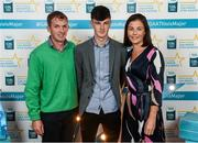29 September 2018; Conor Kelly of O'Loughlin Gaels, Kilkenny, with parents Brian and Geraldine on their arrival at the 2018 Electric Ireland Minor Star Awards. The Hurling/Football Team of the Year was selected by an expert panel of GAA legends including Ollie Canning, Sean Cavanagh, Michael Fennelly and Daniel Goulding. Sponsors of the GAA Minor Championships, Electric Ireland today recognised the talent and dedication of 15 Minor football players, and 15 Minor hurling players at the second annual Electric Ireland Minor Star Awards at Croke Park. #GAAThisIsMajor Photo by Stephen McCarthy/Sportsfile