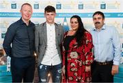 29 September 2018; Jamie Young of O'Loughlin Gaels, Kilkenny, with, from left, Sheamie Cummins, Michelle Young and Michael Young on their arrival at the 2018 Electric Ireland Minor Star Awards. The Hurling/Football Team of the Year was selected by an expert panel of GAA legends including Ollie Canning, Sean Cavanagh, Michael Fennelly and Daniel Goulding. Sponsors of the GAA Minor Championships, Electric Ireland today recognised the talent and dedication of 15 Minor football players, and 15 Minor hurling players at the second annual Electric Ireland Minor Star Awards at Croke Park. #GAAThisIsMajor Photo by Stephen McCarthy/Sportsfile