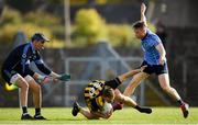 29 September 2018; Ronan Jones of St Peter's is fouled by Stephen Moran of Simonstown during the Meath County Senior Club Football Championship Semi-Final match between Simonstown and St Peter's, Dunboyne at Páirc Tailteann in Navan, Co. Meath. Photo by Harry Murphy/Sportsfile