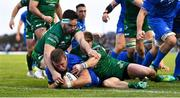 29 September 2018; Seán Cronin of Leinster goes over to score his side's second try despite the efforts of Paul Boyle, left, and Kieran Marmion of Connacht during the Guinness PRO14 Round 5 match between Connacht and Leinster at The Sportsground in Galway. Photo by Brendan Moran/Sportsfile