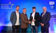 29 September 2018; Conor Whelan of CJ Kickhams, Tipperary, is presented with his Hurling Team of the Year Award by Pat O'Doherty, ESB Chief Executive, alongside Former Kilkenny hurler and Electric Ireland Minor Star Awards judge Michael Fennelly, left, and Uachtarán Chumann Lúthcleas Gael John Horan. The Hurling and Football Team of the Year was selected by an expert panel of GAA legends including Ollie Canning, Sean Cavanagh, Michael Fennelly and Daniel Goulding. Sponsors of the GAA Minor Championships, Electric Ireland today recognised the talent and dedication of 15 Minor football players, and 15 Minor hurling players at the second annual Electric Ireland Minor Star Awards at Croke Park. #GAAThisIsMajor Photo by Sam Barnes/Sportsfile