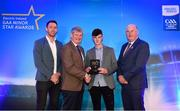 29 September 2018; Conor Kelly of O'Loughlin Gaels, Kilkenny, is presented with his Hurling Team of the Year Award by Pat O'Doherty, ESB Chief Executive, alongside Former Kilkenny hurler and Electric Ireland Minor Star Awards judge Michael Fennelly, left, and Uachtarán Chumann Lúthcleas Gael John Horan. The Hurling and Football Team of the Year was selected by an expert panel of GAA legends including Ollie Canning, Sean Cavanagh, Michael Fennelly and Daniel Goulding. Sponsors of the GAA Minor Championships, Electric Ireland today recognised the talent and dedication of 15 Minor football players, and 15 Minor hurling players at the second annual Electric Ireland Minor Star Awards at Croke Park. #GAAThisIsMajor Photo by Sam Barnes/Sportsfile