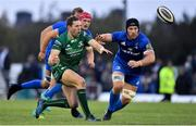 29 September 2018; Caolin Blade of Connacht in action against Josh van der Flier and Sean O'Brien of Leinster during the Guinness PRO14 Round 5 match between Connacht and Leinster at The Sportsground in Galway. Photo by Brendan Moran/Sportsfile