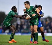 29 September 2018; Tom Farrell of Connacht, supported by team-mate Niyi Adeolokun is tackled by Joe Tomane of Leinster during the Guinness PRO14 Round 5 match between Connacht and Leinster at The Sportsground in Galway. Photo by Brendan Moran/Sportsfile