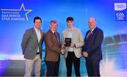 29 September 2018; Luke Mitchell of Dunshaughlin, Meath, is presented with his Football Team of the Year Award by Pat O'Doherty, ESB Chief Executive, alongside Former Tyrone footballer and Electric Ireland Minor Star Awards judge Sean Cavanagh, left, and Uachtarán Chumann Lúthcleas Gael John Horan. The Hurling and Football Team of the Year was selected by an expert panel of GAA legends including Ollie Canning, Sean Cavanagh, Michael Fennelly and Daniel Goulding. Sponsors of the GAA Minor Championships, Electric Ireland today recognised the talent and dedication of 15 Minor football players, and 15 Minor hurling players at the second annual Electric Ireland Minor Star Awards at Croke Park. #GAAThisIsMajor Photo by Sam Barnes/Sportsfile