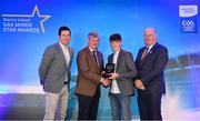 29 September 2018; Aaron Mulligan of Latton, Monaghan, is presented with his Football Team of the Year Award by Pat O'Doherty, ESB Chief Executive, alongside Former Tyrone footballer and Electric Ireland Minor Star Awards judge Sean Cavanagh, left, and Uachtarán Chumann Lúthcleas Gael John Horan. The Hurling and Football Team of the Year was selected by an expert panel of GAA legends including Ollie Canning, Sean Cavanagh, Michael Fennelly and Daniel Goulding. Sponsors of the GAA Minor Championships, Electric Ireland today recognised the talent and dedication of 15 Minor football players, and 15 Minor hurling players at the second annual Electric Ireland Minor Star Awards at Croke Park. #GAAThisIsMajor Photo by Sam Barnes/Sportsfile