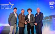 29 September 2018; Paul Walsh of Brosna, Kerry, is presented with his Football Team of the Year Award by Pat O'Doherty, ESB Chief Executive, alongside Former Tyrone footballer and Electric Ireland Minor Star Awards judge Sean Cavanagh, left, and Uachtarán Chumann Lúthcleas Gael John Horan. The Hurling and Football Team of the Year was selected by an expert panel of GAA legends including Ollie Canning, Sean Cavanagh, Michael Fennelly and Daniel Goulding. Sponsors of the GAA Minor Championships, Electric Ireland today recognised the talent and dedication of 15 Minor football players, and 15 Minor hurling players at the second annual Electric Ireland Minor Star Awards at Croke Park. #GAAThisIsMajor Photo by Sam Barnes/Sportsfile