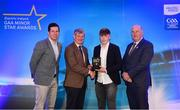 29 September 2018; Colm Moriarty of Annascaul, Kerry, is presented with his Football Team of the Year Award by Pat O'Doherty, ESB Chief Executive, alongside Former Tyrone footballer and Electric Ireland Minor Star Awards judge Sean Cavanagh, left, and Uachtarán Chumann Lúthcleas Gael John Horan. The Hurling and Football Team of the Year was selected by an expert panel of GAA legends including Ollie Canning, Sean Cavanagh, Michael Fennelly and Daniel Goulding. Sponsors of the GAA Minor Championships, Electric Ireland today recognised the talent and dedication of 15 Minor football players, and 15 Minor hurling players at the second annual Electric Ireland Minor Star Awards at Croke Park. #GAAThisIsMajor Photo by Sam Barnes/Sportsfile
