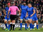 29 September 2018; Referee John Lacey speaks to Scott Fardy, centre, and Seán Cronin of Leinster after a tackle on Robin Copeland of Connacht during the Guinness PRO14 Round 5 match between Connacht and Leinster at The Sportsground in Galway. Photo by Brendan Moran/Sportsfile