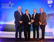 29 September 2018; Electric Ireland Special Merit Award Winner, Mattie Murphy, second from left, is presented with his award by Former Galway hurler and Electric Ireland Minor Star Awards judge Ollie Canning, alongside, Uachtarán Chumann Lúthcleas Gael John Horan, left, and Pat O'Doherty, ESB Chief Executive, at the 2018 Electric Ireland Minor Star Awards. The Football Team of the Year was selected by an expert panel of GAA legends including Ollie Canning, Sean Cavanagh, Michael Fennelly and Daniel Goulding. Sponsors of the GAA Minor Championships, Electric Ireland today recognised the talent and dedication of 15 Minor football players, and 15 Minor hurling players at the second annual Electric Ireland Minor Star Awards at Croke Park. #GAAThisIsMajor Photo by Sam Barnes/Sportsfile