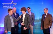 29 September 2018; Electric Ireland Minor Footballer of the Year 2018 Paul Walsh of Brosna, Kerry, centre, speaking, alongside  Electric Ireland Minor Star Awards judge Sean Cavanagh, Uachtarán Chumann Lúthcleas Gael John Horan, and Pat O'Doherty, ESB Chief Executive, at the 2018 Electric Ireland Minor Star Awards. The Football Team of the Year was selected by an expert panel of GAA legends including Ollie Canning, Sean Cavanagh, Michael Fennelly and Daniel Goulding. Sponsors of the GAA Minor Championships, Electric Ireland today recognised the talent and dedication of 15 Minor football players, and 15 Minor hurling players at the second annual Electric Ireland Minor Star Awards at Croke Park. #GAAThisIsMajor Photo by Sam Barnes/Sportsfile