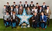 29 September 2018; Former Tyrone footballer and Electric Ireland Minor Star Awards judge Sean Cavanagh, Pat O'Doherty, ESB Chief Executive and Marguerite Sayers, ESB Executive Director Customer Solutions, centre, alongside the The Electric Ireland Minor Football Team of the Year, backrow from left, Matthew Cooley of Corofin, Galway, Aaron Mulligan of Latton, Monaghan, Tiarnan Woods of Drumsurn, Derry, Mark Lavin of Lucan Sarsfields, Dublin, Darragh Rahilly of Rathmore, Kerry, Owen Fitzgerald of Gneeveguilla, Kerry, Ronan Grimes of Killanny, Monaghan; middle row from left, Conor Raftery of Northern Gaels, Galway, Colm Moriarty of Annascaul, Kerry, John Ball of Clane, Kildare, Eoin Darcy of Tinahely, Wicklow, Tony Gill of Corofin, Galway; front row from left, Luke Mitchell of Dunshaughlin, Meath, Electric Ireland Minor Footballer of the Year 2018, Paul Walsh of Brosna, Kerry, Electric Ireland Special Merit Award Winner, Mattie Murphy, and Matthew Costello of Dunshaughlin, Meath, at the 2018 Electric Ireland Minor Star Awards. The Hurling and Football Team of the Year was selected by an expert panel of GAA legends including Ollie Canning, Sean Cavanagh, Michael Fennelly and Daniel Goulding. Sponsors of the GAA Minor Championships, Electric Ireland today recognised the talent and dedication of 15 Minor football players, and 15 Minor hurling players at the second annual Electric Ireland Minor Star Awards at Croke Park. #GAAThisIsMajor Photo by Sam Barnes/Sportsfile