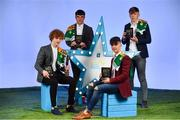 29 September 2018;  Electric Ireland Minor Footballer of the Year 2018, Paul Walsh of Brosna, Kerry, left, Darragh Rahilly of Rathmore, Kerry, Owen Fitzgerald of Gneeveguilla, Kerry, and Colm Moriarty of Annascaul, Kerry,  with their Minor Football Team of the Year Awards at the 2018 Electric Ireland Minor Star Awards. The Hurling and Football Team of the Year was selected by an expert panel of GAA legends including Ollie Canning, Sean Cavanagh, Michael Fennelly and Daniel Goulding. Sponsors of the GAA Minor Championships, Electric Ireland today recognised the talent and dedication of 15 Minor football players, and 15 Minor hurling players at the second annual Electric Ireland Minor Star Awards at Croke Park. #GAAThisIsMajor  Photo by Sam Barnes/Sportsfile
