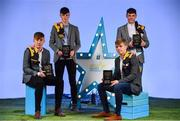 29 September 2018; Darragh Maher of St. Lachtain's, Kilkenny, Conor Kelly of O'Loughlin Gaels, Kilkenny, Ciarán Brennan of Bennettsbridge, Kilkenny and Jamie Young of O'Loughlin Gaels, Kilkenny, with their Minor Hurling Team of the Year Awards at the 2018 Electric Ireland Minor Star Awards. The Hurling and Football Team of the Year was selected by an expert panel of GAA legends including Ollie Canning, Sean Cavanagh, Michael Fennelly and Daniel Goulding. Sponsors of the GAA Minor Championships, Electric Ireland today recognised the talent and dedication of 15 Minor football players, and 15 Minor hurling players at the second annual Electric Ireland Minor Star Awards at Croke Park. #GAAThisIsMajor Photo by Sam Barnes/Sportsfile