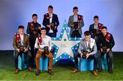 29 September 2018; Galway players, from left, Tony Gill of Corofin, Seán Neary of Castlegar, Galway, Electric Ireland Minor Hurler of the Year 2018, Donal O'Shea of Salthill/Knocknacarra, Shane Jennings of Ballinasloe, Conor Raftery of Northern Gaels, Patrick Rabbitte of St. Mary's, Matthew Cooley of Corofin, and Dean Reilly of Pádraig Pearses, with their Minor Football and Hurling Team of the Year Awards at the 2018 Electric Ireland Minor Star Awards. The Hurling and Football Team of the Year was selected by an expert panel of GAA legends including Ollie Canning, Sean Cavanagh, Michael Fennelly and Daniel Goulding. Sponsors of the GAA Minor Championships, Electric Ireland today recognised the talent and dedication of 15 Minor football players, and 15 Minor hurling players at the second annual Electric Ireland Minor Star Awards at Croke Park. #GAAThisIsMajor Photo by Sam Barnes/Sportsfile