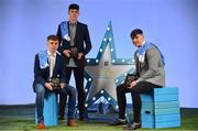29 September 2018; Mark Lavin of Lucan Sarsfields, Dublin and Donal Leavy of Naomh Olaf, Dublin, and Luke Swan of Castleknock, Dublin with their Minor Football and Hurling Team of the Year Awards at the 2018 Electric Ireland Minor Star Awards. The Hurling and Football Team of the Year was selected by an expert panel of GAA legends including Ollie Canning, Sean Cavanagh, Michael Fennelly and Daniel Goulding. Sponsors of the GAA Minor Championships, Electric Ireland today recognised the talent and dedication of 15 Minor football players, and 15 Minor hurling players at the second annual Electric Ireland Minor Star Awards at Croke Park. #GAAThisIsMajor Photo by Sam Barnes/Sportsfile