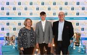 29 September 2018; Luke Swan of Castleknock, Dublin, with parents Michelle and Karl on their arrival at the 2018 Electric Ireland Minor Star Awards. The Hurling/Football Team of the Year was selected by an expert panel of GAA legends including Ollie Canning, Sean Cavanagh, Michael Fennelly and Daniel Goulding. Sponsors of the GAA Minor Championships, Electric Ireland today recognised the talent and dedication of 15 Minor football players, and 15 Minor hurling players at the second annual Electric Ireland Minor Star Awards at Croke Park. #GAAThisIsMajor Photo by Stephen McCarthy/Sportsfile