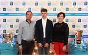 29 September 2018; Mark Lavin of Lucan Sarsfields, Dublin, with parents Joe and Anne Marie on their arrival at the 2018 Electric Ireland Minor Star Awards. The Hurling/Football Team of the Year was selected by an expert panel of GAA legends including Ollie Canning, Sean Cavanagh, Michael Fennelly and Daniel Goulding. Sponsors of the GAA Minor Championships, Electric Ireland today recognised the talent and dedication of 15 Minor football players, and 15 Minor hurling players at the second annual Electric Ireland Minor Star Awards at Croke Park. #GAAThisIsMajor Photo by Stephen McCarthy/Sportsfile
