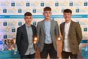 29 September 2018; Galway footballers, from left, Matthew Cooley of Corofin, Conor Raftery of Northern Gaels, and Tony Gill of Corofin, on their arrival at the 2018 Electric Ireland Minor Star Awards. The Hurling/Football Team of the Year was selected by an expert panel of GAA legends including Ollie Canning, Sean Cavanagh, Michael Fennelly and Daniel Goulding. Sponsors of the GAA Minor Championships, Electric Ireland today recognised the talent and dedication of 15 Minor football players, and 15 Minor hurling players at the second annual Electric Ireland Minor Star Awards at Croke Park. #GAAThisIsMajor Photo by Stephen McCarthy/Sportsfile