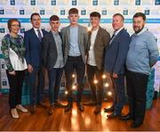 29 September 2018; Galway footballers, from left, Matthew Cooley of Corofin, Conor Raftery of Northern Gaels, and Tony Gill of Corofin, with Mary Judge, Cosmas Gilmore, Michéal Geraghty and Seamus O'Grady on their arrival at the 2018 Electric Ireland Minor Star Awards. The Hurling/Football Team of the Year was selected by an expert panel of GAA legends including Ollie Canning, Sean Cavanagh, Michael Fennelly and Daniel Goulding. Sponsors of the GAA Minor Championships, Electric Ireland today recognised the talent and dedication of 15 Minor football players, and 15 Minor hurling players at the second annual Electric Ireland Minor Star Awards at Croke Park. #GAAThisIsMajor Photo by Stephen McCarthy/Sportsfile