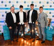 29 September 2018; Tipperary hurlers, from left, Seán Phelan of Nenagh Eire OG, Conor Whelan of CJ Kickhams, and James Devaney of Borris-Ileigh, with Joe Bracken on their arrival at the 2018 Electric Ireland Minor Star Awards. The Hurling/Football Team of the Year was selected by an expert panel of GAA legends including Ollie Canning, Sean Cavanagh, Michael Fennelly and Daniel Goulding. Sponsors of the GAA Minor Championships, Electric Ireland today recognised the talent and dedication of 15 Minor football players, and 15 Minor hurling players at the second annual Electric Ireland Minor Star Awards at Croke Park. #GAAThisIsMajor Photo by Stephen McCarthy/Sportsfile