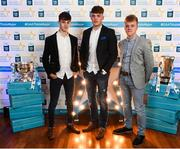 29 September 2018; Tipperary hurlers, from left, Seán Phelan of Nenagh Eire OG, Conor Whelan of CJ Kickhams, and James Devaney of Borris-Ileigh, on their arrival at the 2018 Electric Ireland Minor Star Awards. The Hurling/Football Team of the Year was selected by an expert panel of GAA legends including Ollie Canning, Sean Cavanagh, Michael Fennelly and Daniel Goulding. Sponsors of the GAA Minor Championships, Electric Ireland today recognised the talent and dedication of 15 Minor football players, and 15 Minor hurling players at the second annual Electric Ireland Minor Star Awards at Croke Park. #GAAThisIsMajor Photo by Stephen McCarthy/Sportsfile