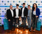 29 September 2018; Tipperary hurlers, from left, Seán Phelan of Nenagh Eire OG, Conor Whelan of CJ Kickhams, and James Devaney of Borris-Ileigh, with Joe Bracken, left, and Lauren Guilfoyle on their arrival at the 2018 Electric Ireland Minor Star Awards. The Hurling/Football Team of the Year was selected by an expert panel of GAA legends including Ollie Canning, Sean Cavanagh, Michael Fennelly and Daniel Goulding. Sponsors of the GAA Minor Championships, Electric Ireland today recognised the talent and dedication of 15 Minor football players, and 15 Minor hurling players at the second annual Electric Ireland Minor Star Awards at Croke Park. #GAAThisIsMajor Photo by Stephen McCarthy/Sportsfile