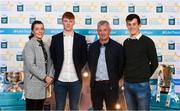 29 September 2018; Shane Jennings of Ballinasloe, Galway, with parents Enda & Des and Eoin Harriman on their arrival at the 2018 Electric Ireland Minor Star Awards. The Hurling/Football Team of the Year was selected by an expert panel of GAA legends including Ollie Canning, Sean Cavanagh, Michael Fennelly and Daniel Goulding. Sponsors of the GAA Minor Championships, Electric Ireland today recognised the talent and dedication of 15 Minor football players, and 15 Minor hurling players at the second annual Electric Ireland Minor Star Awards at Croke Park. #GAAThisIsMajor Photo by Stephen McCarthy/Sportsfile