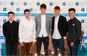 29 September 2018; Galway hurlers, from left, Dean Reilly of Pádraig Pearses, Donal O'Shea of Salthill/Knocknacarra, Patrick Rabbitte of St. Mary's, Shane Jennings of Ballinasloe, and Seán Neary of Castlegar, on their arrival at the 2018 Electric Ireland Minor Star Awards. The Hurling/Football Team of the Year was selected by an expert panel of GAA legends including Ollie Canning, Sean Cavanagh, Michael Fennelly and Daniel Goulding. Sponsors of the GAA Minor Championships, Electric Ireland today recognised the talent and dedication of 15 Minor football players, and 15 Minor hurling players at the second annual Electric Ireland Minor Star Awards at Croke Park. #GAAThisIsMajor Photo by Stephen McCarthy/Sportsfile
