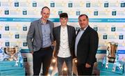 29 September 2018; Aaron Mulligan of Latton, Monaghan, with David McCague, left, and manager Seamus McEnaney, right, on their arrival at the 2018 Electric Ireland Minor Star Awards. The Hurling/Football Team of the Year was selected by an expert panel of GAA legends including Ollie Canning, Sean Cavanagh, Michael Fennelly and Daniel Goulding. Sponsors of the GAA Minor Championships, Electric Ireland today recognised the talent and dedication of 15 Minor football players, and 15 Minor hurling players at the second annual Electric Ireland Minor Star Awards at Croke Park. #GAAThisIsMajor Photo by Stephen McCarthy/Sportsfile