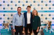 29 September 2018; Matthew Costello of Dunshaughlin, Meath, with his parents Paul and Shiela on their arrival at the 2018 Electric Ireland Minor Star Awards. The Hurling/Football Team of the Year was selected by an expert panel of GAA legends including Ollie Canning, Sean Cavanagh, Michael Fennelly and Daniel Goulding. Sponsors of the GAA Minor Championships, Electric Ireland today recognised the talent and dedication of 15 Minor football players, and 15 Minor hurling players at the second annual Electric Ireland Minor Star Awards at Croke Park. #GAAThisIsMajor Photo by Stephen McCarthy/Sportsfile