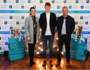 29 September 2018; Shane Jennings of Ballinasloe, Galway, with parents Enda & Des on their arrival at the 2018 Electric Ireland Minor Star Awards. The Hurling/Football Team of the Year was selected by an expert panel of GAA legends including Ollie Canning, Sean Cavanagh, Michael Fennelly and Daniel Goulding. Sponsors of the GAA Minor Championships, Electric Ireland today recognised the talent and dedication of 15 Minor football players, and 15 Minor hurling players at the second annual Electric Ireland Minor Star Awards at Croke Park. #GAAThisIsMajor Photo by Stephen McCarthy/Sportsfile