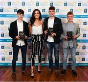 29 September 2018; Tipperary hurlers, from left, Seán Phelan of Nenagh Eire OG, Conor Whelan of CJ Kickhams, and James Devaney of Borris-Ileigh, and Lauren Guilfoyle at the 2018 Electric Ireland Minor Star Awards. The Hurling/Football Team of the Year was selected by an expert panel of GAA legends including Ollie Canning, Sean Cavanagh, Michael Fennelly and Daniel Goulding. Sponsors of the GAA Minor Championships, Electric Ireland today recognised the talent and dedication of 15 Minor football players, and 15 Minor hurling players at the second annual Electric Ireland Minor Star Awards at Croke Park. #GAAThisIsMajor Photo by Stephen McCarthy/Sportsfile