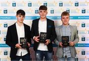 29 September 2018; Tipperary hurlers, from left, Seán Phelan of Nenagh Eire OG, Conor Whelan of CJ Kickhams, and James Devaney of Borris-Ileigh, with their awards at the 2018 Electric Ireland Minor Star Awards. The Hurling/Football Team of the Year was selected by an expert panel of GAA legends including Ollie Canning, Sean Cavanagh, Michael Fennelly and Daniel Goulding. Sponsors of the GAA Minor Championships, Electric Ireland today recognised the talent and dedication of 15 Minor football players, and 15 Minor hurling players at the second annual Electric Ireland Minor Star Awards at Croke Park. #GAAThisIsMajor Photo by Stephen McCarthy/Sportsfile