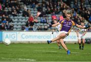30 September 2018; Paul Mannion of Kilmacud Crokes scores his side's first goal from a penalty during the Dublin County Senior Club Football Championship Quarter-Final match between St. Sylvester's and Kilmacud Crokes at Parnell Park in Dublin. Photo by Harry Murphy/Sportsfile