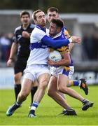 30 September 2018; Kevin Kindlon of Castleknock in action against Nathan Mullins of St Vincent's during the Dublin County Senior Club Football Championship Quarter-Final match between St Vincent's and Castleknock at Parnell Park in Dublin. Photo by Harry Murphy/Sportsfile