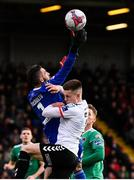 30 September 2018; Cork City goalkeeper Mark McNulty in action against Daragh Leahy of Bohemians during the Irish Daily Mail FAI Cup Semi-Final match between Bohemians and Cork City at Dalymount Park in Dublin. Photo by Stephen McCarthy/Sportsfile
