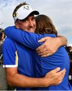 30 September 2018; Ian Poulter, left, and Tommy Fleetwood of Europe celebrate winning the Ryder Cup following the Ryder Cup 2018 Matches at Le Golf National in Paris, France. Photo by Ramsey Cardy/Sportsfile