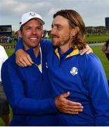 30 September 2018; Paul Casey, left, and Tommy Fleetwood of Europe celebrate winning the Ryder Cup following the Ryder Cup 2018 Matches at Le Golf National in Paris, France. Photo by Ramsey Cardy/Sportsfile