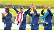 30 September 2018; Europe golfers, from left, Tommy Fleetwood, Rory McIlroy, Francesco Molinari and Alex Norén after winning the Ryder Cup following the Ryder Cup 2018 Matches at Le Golf National in Paris, France. Photo by Ramsey Cardy/Sportsfile