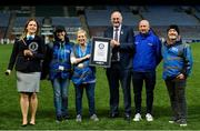 30 September 2018; Paulina Sapinska, Guinness World Record Ajudicator, Niamh McCoy, Director of the GAA Museum,  Julianne McKeigue, GAA Museum, Uachtarán Chumann Lúthcleas Gael John Horan and Croke Park Museum staff with the Guinness World Record Certificate following the Official Guinness World Record Attempt for World's Largest Hurling Lesson at Croke Park in Dublin. The attempt, which saw 1,772 participants take to the field was made to celebrate 20 Years of the GAA Museum.  Photo by Sam Barnes/Sportsfile