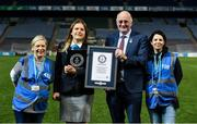 30 September 2018; Julianne McKeigue, GAA Museum, Paulina Sapinska, Guinness World Record Ajudicator, Uachtarán Chumann Lúthcleas Gael John Horan and Niamh McCoy, Director of the GAA Museum, with the Guinness World Record Certificate following the Official Guinness World Record Attempt for World's Largest Hurling Lesson at Croke Park in Dublin. The attempt, which saw 1,772 participants take to the field was made to celebrate 20 Years of the GAA Museum.  Photo by Sam Barnes/Sportsfile