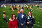30 September 2018; Uachtarán Chumann Lúthcleas Gael John Horan, with Paulina Sapinska, Guinness World Record Ajudicator, right, and Laura Guinan, Special Witness, during the Official Guinness World Record Attempt for World's Largest Hurling Lesson at Croke Park in Dublin. The attempt, which saw 1,772 participants take to the field was made to celebrate 20 Years of the GAA Museum.  Photo by Sam Barnes/Sportsfile