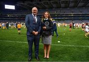 30 September 2018; Uachtarán Chumann Lúthcleas Gael John Horan, with Paulina Sapinska, Guinness World Record Ajudicator during the Official Guinness World Record Attempt for World's Largest Hurling Lesson at Croke Park in Dublin. The attempt, which saw 1,772 participants take to the field was made to celebrate 20 Years of the GAA Museum.  Photo by Sam Barnes/Sportsfile
