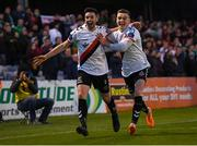 30 September 2018; Kevin Devaney, left, and Daragh Leahy of Bohemians celebrate after team-mate Dinny Corcoran, not pictured, scored their first goal during the Irish Daily Mail FAI Cup Semi-Final match between Bohemians and Cork City at Dalymount Park in Dublin. Photo by Stephen McCarthy/Sportsfile