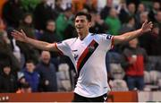 30 September 2018; Dinny Corcoran of Bohemians celebrates after scoring his side's first goal during the Irish Daily Mail FAI Cup Semi-Final match between Bohemians and Cork City at Dalymount Park in Dublin. Photo by Stephen McCarthy/Sportsfile