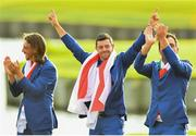 30 September 2018; Tommy Fleetwood, left, with Rory McIlroy, centre, and Francesco Molinari of Europe after the Ryder Cup 2018 Matches at Le Golf National in Paris, France. Photo by Ramsey Cardy/Sportsfile